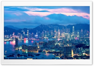 Hong Kong Night Lights HD Wide Wallpaper for Widescreen