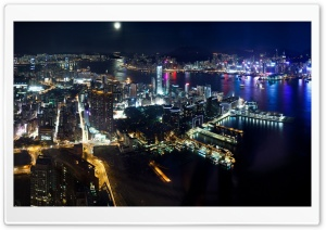 Hong Kong Night Panorama Ultra HD Wallpaper for 4K UHD Widescreen desktop, tablet & smartphone