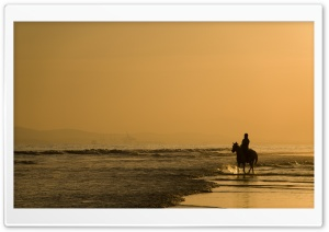 Horse Riding On The Beach HD Wide Wallpaper for Widescreen