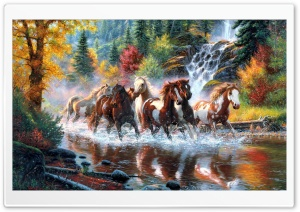 Horses, Autumn Ultra HD Wallpaper for 4K UHD Widescreen desktop, tablet & smartphone