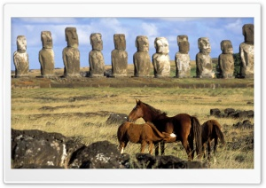 Horses Of Easter Island Chile HD Wide Wallpaper for 4K UHD Widescreen desktop & smartphone