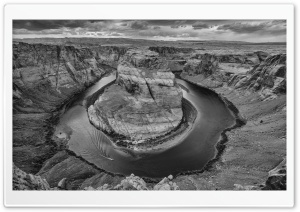 Horseshoe Bend, Arizona, Black and White HD Wide Wallpaper for 4K UHD Widescreen desktop & smartphone