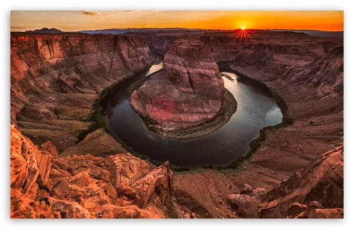 Download Horseshoe Bend seen from the lookout area UltraHD Wallpaper