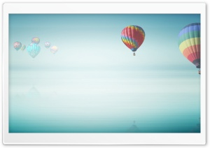 Hot Air Balloon Above The Ocean HD Wide Wallpaper for 4K UHD Widescreen desktop & smartphone