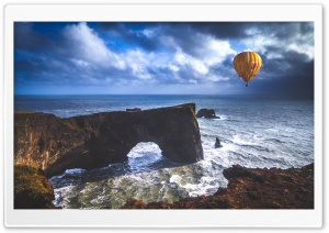 Hot Air Balloon, Dyrholaey Arch, Iceland HD Wide Wallpaper for Widescreen