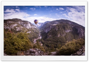 Hot Air Balloon flying over Yosemite HD Wide Wallpaper for 4K UHD Widescreen desktop & smartphone