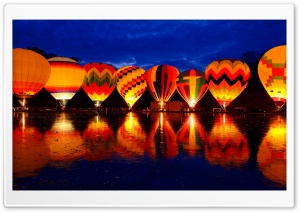 Hot Air Balloon Night Glow HD Wide Wallpaper for 4K UHD Widescreen desktop & smartphone