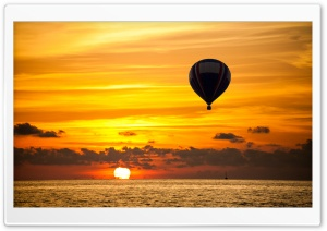 Hot Air Balloon, Orange Sunset HD Wide Wallpaper for Widescreen