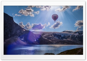 Hot Air Balloon Over Mountains HD Wide Wallpaper for Widescreen