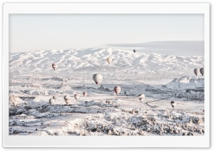 Hot Air Balloon Ride Over Cappadocia Winter HD Wide Wallpaper for 4K UHD Widescreen desktop & smartphone