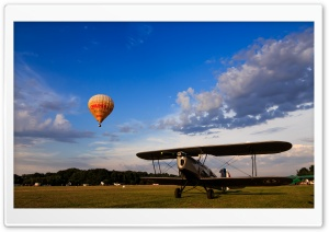 Hot Air Balloon vs. Plane HD Wide Wallpaper for Widescreen