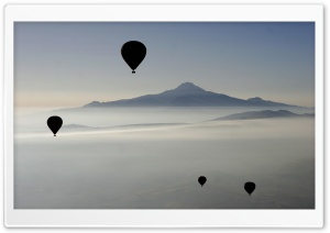 Hot Air Balloons, Islands HD Wide Wallpaper for Widescreen