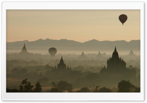 Hot Air Balloons Over North Guni Bagan Myanmar HD Wide Wallpaper for Widescreen