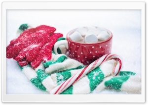 Hot Chocolate, Candy Cane, Snow, Winter HD Wide Wallpaper for Widescreen