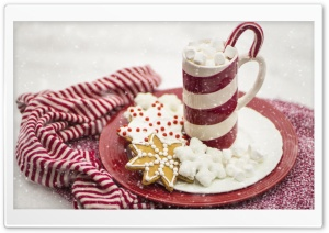 Hot Chocolate, Marshmallows, Candy Cane, Christmas HD Wide Wallpaper for 4K UHD Widescreen desktop & smartphone