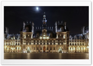 Hotel de Ville At Night, Paris, France HD Wide Wallpaper for 4K UHD Widescreen desktop & smartphone