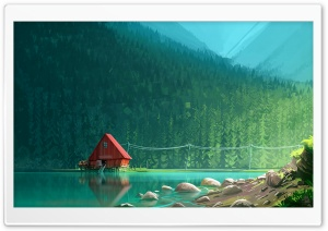 House by the Lake drawing Ultra HD Wallpaper for 4K UHD Widescreen desktop, tablet & smartphone