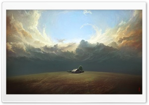 House, Field, Landscape Painting
