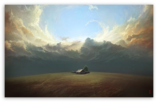 Download House, Field, Landscape Painting HD Wallpaper