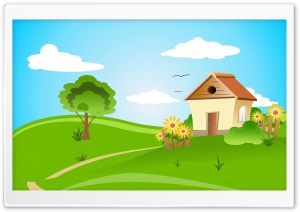 House Illustration Spring HD Wide Wallpaper for Widescreen