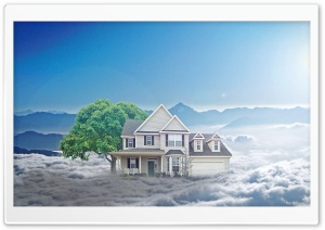 House in Clouds HD Wide Wallpaper for 4K UHD Widescreen desktop & smartphone