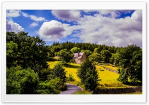 House On A Hillside Landscape, Blue Cloudy Sky, Sunny Day HD Wide Wallpaper for 4K UHD Widescreen desktop & smartphone