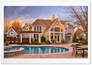 House With Pool In The Yard HD Wide Wallpaper for Widescreen