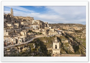 Houses, Matera City, Italy HD Wide Wallpaper for Widescreen