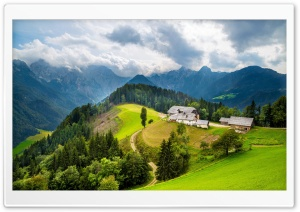 Houses On Hill Between Mountains HD Wide Wallpaper for Widescreen
