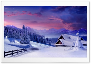 Houses Under Snow HD Wide Wallpaper for Widescreen