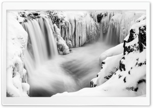 Hrafnabjargafoss Waterfall, Iceland, Winter HD Wide Wallpaper for Widescreen