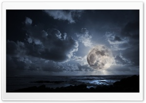 Huge Moon HD Wide Wallpaper for Widescreen