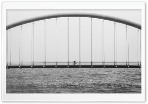 Humber Bay Arch Bridge Black and White HD Wide Wallpaper for 4K UHD Widescreen desktop & smartphone