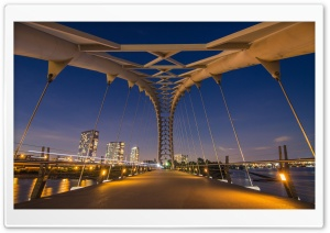 Humber Bay Arch Bridge by Night HD Wide Wallpaper for Widescreen