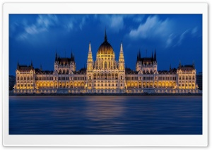 Hungarian Parliament Building at Night HD Wide Wallpaper for Widescreen
