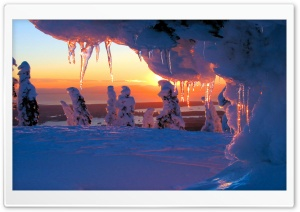 Icicles At Sunset HD Wide Wallpaper for 4K UHD Widescreen desktop & smartphone