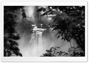 Iguazu Falls Black And White HD Wide Wallpaper for Widescreen