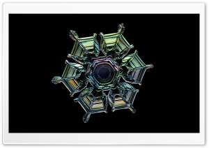 Iridescent Snowflake Macro HD Wide Wallpaper for Widescreen
