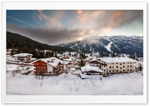 Italia Alps Winter Village HD Wide Wallpaper for Widescreen