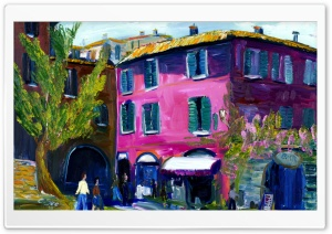 Italien Italy House Pink Painting HD Wide Wallpaper for 4K UHD Widescreen desktop & smartphone