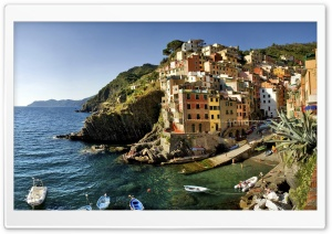 Italy Boats In Little Bay HD Wide Wallpaper for Widescreen
