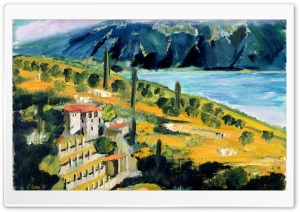 Italy Garda Lake, Lago Di Garda, Limonaia, Oil Painting HD Wide Wallpaper for 4K UHD Widescreen desktop & smartphone