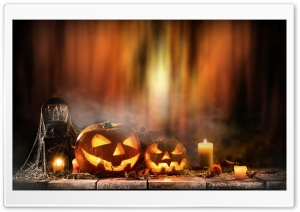 Jack-o-lanterns, Fog, Candles, Halloween Holiday Ultra HD Wallpaper for 4K UHD Widescreen desktop, tablet & smartphone