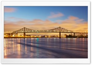 Jacques Cartier Bridge crossing the Saint Lawrence River, Canada HD Wide Wallpaper for Widescreen