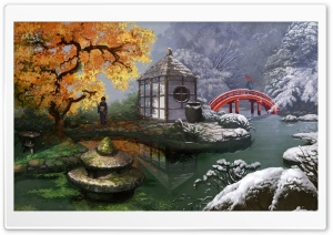 Japanese Garden Painting HD Wide Wallpaper for Widescreen