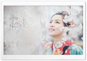 Japanese girl with Sakura Ultra HD Wallpaper for 4K UHD Widescreen desktop, tablet & smartphone