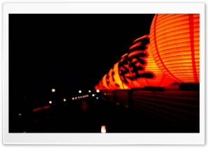 Japanese Lanterns At Night HD Wide Wallpaper for 4K UHD Widescreen desktop & smartphone