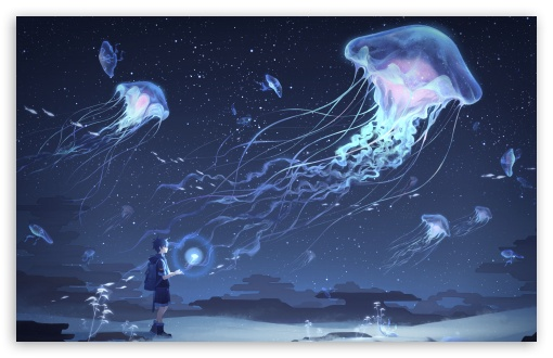 Jellyfish Art Ultra Hd Desktop Background Wallpaper For Widescreen Ultrawide Desktop Laptop Multi Display Dual Monitor Tablet Smartphone