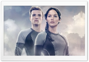 Jennifer Lawrence as Katniss Everdeen and Josh Hutcherson as Peeta Mellark HD Wide Wallpaper for Widescreen