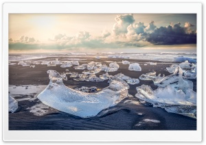 Jokulsarlon Ice Beach, Iceland HD Wide Wallpaper for 4K UHD Widescreen desktop & smartphone